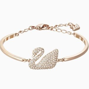 SWAROVSKI SWAN BANGLE ROSE-GOLD PLATED BRACELET